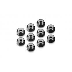 ALU NUT M4 - BLACK (10)